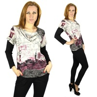New 2015 Spring Autumn fashion loose plus-size British style printing Women t shirt Splice sleeves sleeve women's Tops 6238