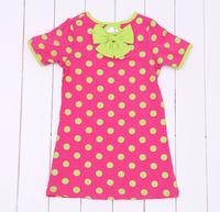 Retail 1 pcs  2015 summer girl dot dress baby & kids bowknot girls dots dresses children clothes vestidos de menina WW01190012J