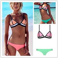 2015 New Arrival Patchwork Triangle Design European Fashion Gauze Stylish Bikini Set For Women Sexy Push Up Swimsuit On Beach