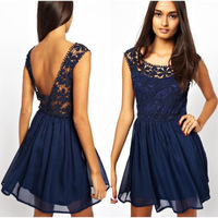 Sexy women Embroidery flower lace dress solid navy blue color transparent lace&Chiffon dress women evening party dress