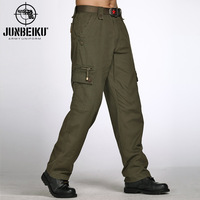 Outdoor casual pants autumn and winter men's clothing long trousers Army Green bags slim overalls male