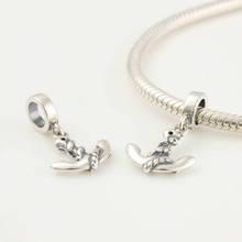 Authentic 925 Sterling Silver Dangle Beads Anchor Fit Pandora europeia Charm Bracelet mulheres jóias DIY(China (Mainland))