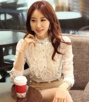 S-XXL 2015 Spring New women's shirts Lace Ruffles full sleeve shirts Pearl Fashion Lady slim  Blouses Cute OL blouse tops  T-048