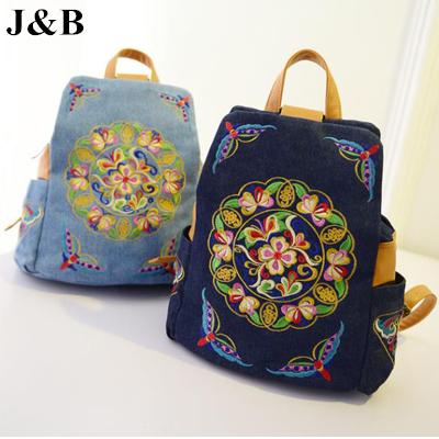 J и b! Этнический стиль женщины рюкзак студенты вышитая школа сумки женское брезент мешок рюкзак YYJ1163