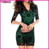 2015 Women's New European Fashion Low-cut V-neck Lace Sexy Tight Package Hip Lace Dresses 6064a Ten Colors S M L XL XXL XXXL
