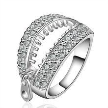 Free Shipping Fashion Women Wedding Jewelry 925 Silver Genuine Austrian Zircon White Crystal Gem Finger Rings Zipper anel SR585