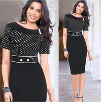 Women Polka Dot Dress Black Color Spliced Bandage Bodycon Dress High Waist Sexy Pencil Long Dress