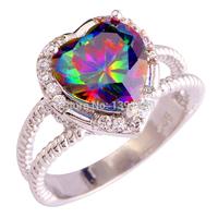 Women Engagement Heart Romantic Jewelry Rainbow Sapphire Fashion Shinning 925 Silver Ring Size 6 7 8 9 10 11 12 13 Free Ship