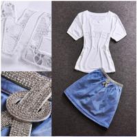 Women Short Denim Skirt Set White Short Sleeve T shirt + Mini Short Jeans Skirt 2 Pieces Suit Summer Skirt