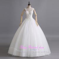 Vestido De Novia Cheap Wedding Dress Made In China Sweetheart Ball Gown Floor Length Bride Custom Made Crystal Bridal Gowns 2015