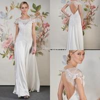 Short Wedding Dress 2015 Cookde Sex Beauty A-line Floor-length Lace Scoop Cap Sleeves Backless Chiffon Wedding Dresses_bridalk