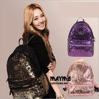 New 2015 Casual Women's Colorful Canvas Backpacks Girl Lady Student School Travel bags Mochila Women Bag paillette bling bag