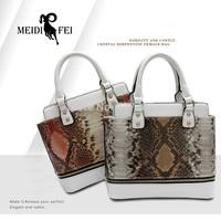 New Fashion Women's Serpentine Skin Shoulder Hand Pu women Arm Flap interior zipper pocket party bag