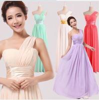 2014 New Arrival One shoulder Chiffon Red Bridesmaid Dress Long Fashion Elegant Design Women Formal Bridesmaid Dress