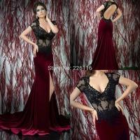 2014 Vestidos De Festa Vestido Longo 2015 Sexy Deep V-neck Formal Evening Dresses And Stitching Floor-length With Lace_bridalk