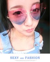 Fashion star style fashion sunglasses heart women's rimless sunglasses vintage big box frog glasses
