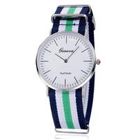 Geneva Watches Nylon Fabric Canvas Women Sports Watch Super Thin Wristatch Platimum Case Quartz Watch