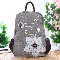 100% Handmade ethnic style Women's backpacks female embroidered chrysanthemum shoulder bag girl schoolbags travel backpacks