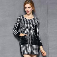 women 2015 spring fashion pullovers plaid printed PU patchwork o-neck houndstooth plus size xl elegant pocket winter dress