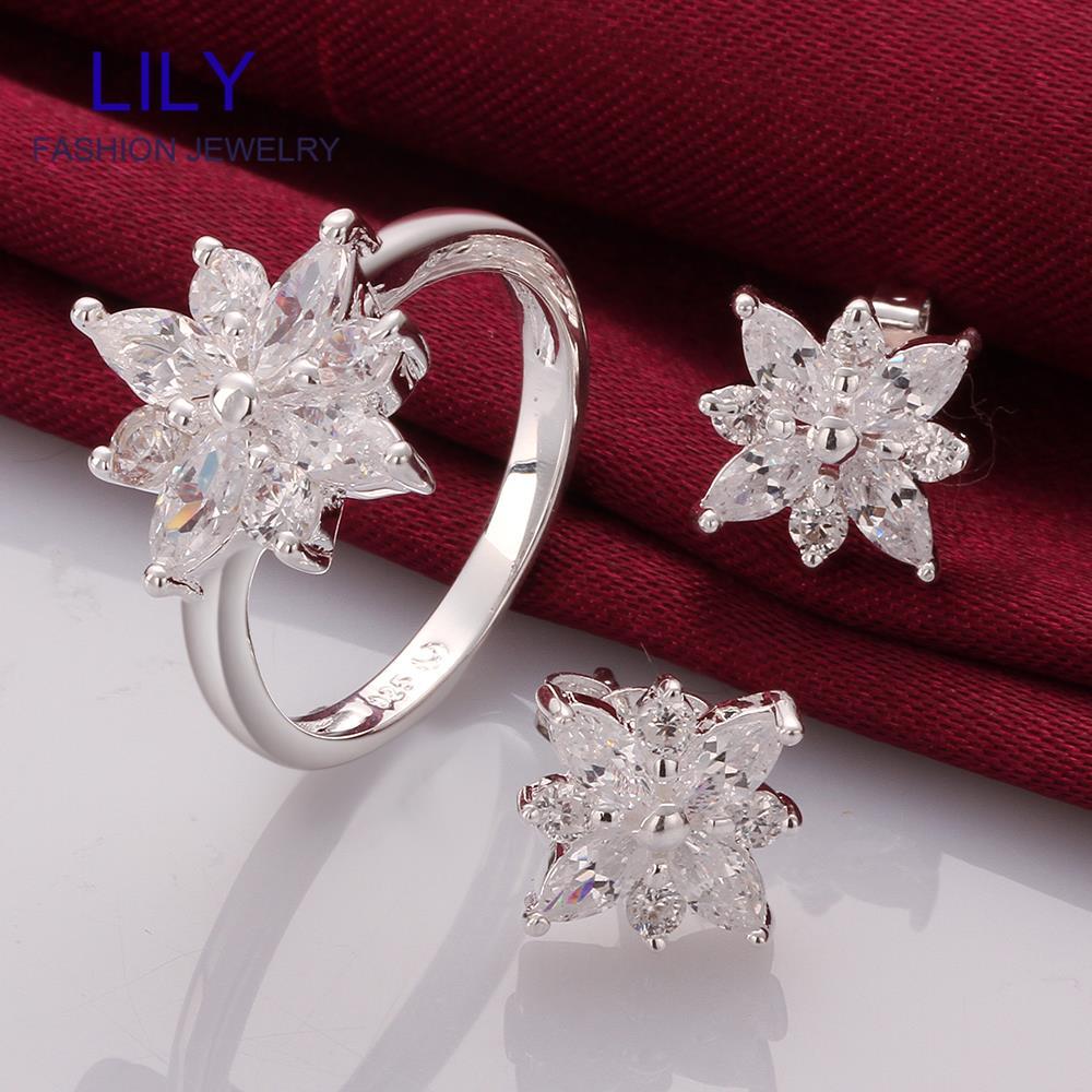S750 Hot Fine Jewellery Sterling Silver 925 African Costume Jewelry Set Earrings Rings Jewlery Sets Valentine