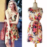 New Fashon Women Casual Sleeveless Summer Dress Pleated Leopard Dress, Plus Size S-XXL