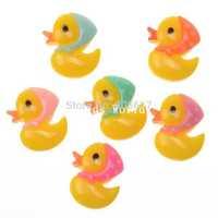 Wholesale Free Shipping 50 Random Mixed Yellow Duck Flatback Resin Scrapbook Embellishment DIY Phone Decoration 20x16mm(W04485)