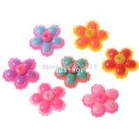 Wholesale Free Shipping 30 Pcs Random Mixed Flower Flatback Resin Scrapbook Embellishment DIY Phone Decoration 29mm(W04490)