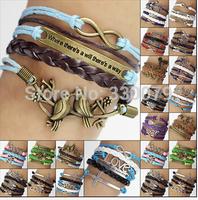 1000 Hot Fashion Jewelry Vintage Braided Anchors Rudder Metal Leather Bracelet Multilayer Rope Wrap Bracelets Wholesale Bangle