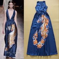 2015 Designer Runway Fashion Sexy V-neck Sea Horse Printed Blue Maxi Dress Beach Holiday Dress SS4609