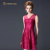 2015 spring women's n15zh105 high quality lace elegant silk one-piece dress