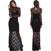 Evening dress perspectivity sexy slim hip cutout lace patchwork long-sleeve dress fish tail full dress black vestido de festa