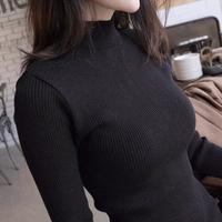 Fashion turtleneck pullover long-sleeve sweater female slim solid color basic shirt