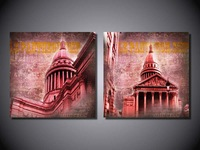 Framed Printed on canvas 2 pieces Retro Vintage building group painting home wall  decoration canvas art Free shipping YX-1613