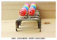Free Shipping/7.5cm/ Bronze dazzle colour flower candy bead purse frame sewing handbag handles / Wholesale