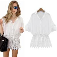 Shirt women Blusas Femininas 2015Desigual Lace Patchwork Women Chiffon Blouses Batwing Sleeve Plus Size Loose Tops Casual Shirts