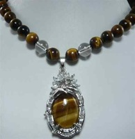 """Pretty!8MM Tiger's Eye stone Beads +Pendant Necklace 18"""""""