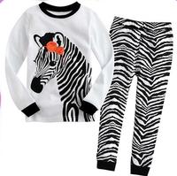 2015 cotton cartoon baby clothing pajamas kids boys girls pajamas children 2 piece sleepwear  zebra Shirt+Pants  pajamas for boy