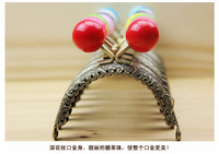 Free Shipping/24color / Bronze embossing lace semicircle candy bead purse frame sewing handbag handles / Wholesale