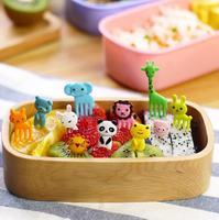 10pcs/bag New Animal Farm mini cartoon fruit fork sign resin fruit toothpick  bento lunch for children decorative plastic sign