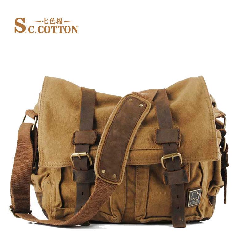S.C.COTTON Men's Women's Casual Vintage Canvas Leather Cotton Rucksack Mountaineering Hiking Messenger Bag School Shoulder Bag(China (Mainland))