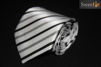100% handmade black and gray white thick thin striped jacquard wedding party Tie business neck jewelry Free Shipping
