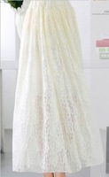 Factory Price!2015 summer new fashion beige lace skirts for women elastic waist flare skirt ladies' elegant A-line long skirts