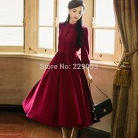 New Spring and Autumn 2015 Small step waltz dress Retro temperament big swing high waist long dress