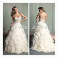 Bloom Beauty Sexy Strapless Sweetheart Maxi Layered Ruffles Organza Bridal vestido de noiva 2015 Exquisite Beading Wedding Dress