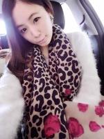 2014 new winter cashmere cotton blend short spike sided burr rose leopard scarf shawl,women scarf