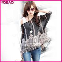 2015 New Women's Fashion Bohemian Printing Batwing Sleeve Chiffon Shirt 4272z Plus Size L XL Free Shipping