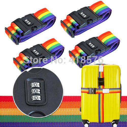 4PCS Travel Luggage Belt Packing Strap with Combination Lock Suitcase Secure Lock Safe Packing Nylon Belt Strap(China (Mainland))