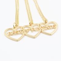 """Hot Sale Fashion """"BEST FRIENDS"""" Heart Pendant Necklace 3Pcs/Set Gold Chokers Necklace"""