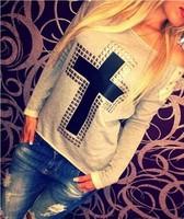 Plus Size 2015 Fashion Women Blouses Long Sleeve T-Shirts Women Roupas Femininas Casual Solid Cross Printed TShirt Top Tees