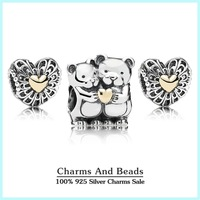 Authentic 925 sterling silver bears charm sets with 14k real gold valentine heart jewelry sets for women brand bracelets NS91